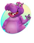 Purple Hippo Cartoon Character - With Circle Background