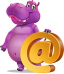 Purple Hippo Cartoon Character - with Email sign