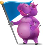 Purple Hippo Cartoon Character - with Flag