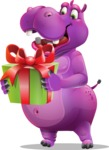 Purple Hippo Cartoon Character - with Gift box