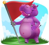 Purple Hippo Cartoon Character - With Outdoor Background