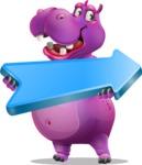 Purple Hippo Cartoon Character - with Positive arrow