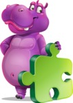 Purple Hippo Cartoon Character - with Puzzle