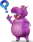 Purple Hippo Cartoon Character - with Question mark