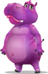 Purple Hippo Cartoon Character - with Sad face