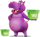 Purple Hippo Cartoon Character - with Sale boxes
