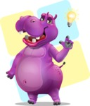 Purple Hippo Cartoon Character - With Simple Background
