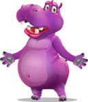Purple Hippo Cartoon Character - with Stunned face