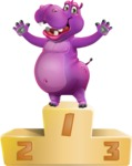 Purple Hippo Cartoon Character - with Success on Top
