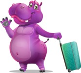 Purple Hippo Cartoon Character - with Suitcase