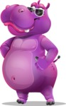Purple Hippo Cartoon Character - with Sunglasses