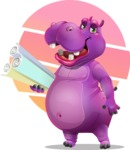 Purple Hippo Cartoon Character - With Sunset Background