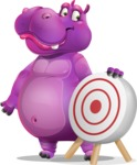 Purple Hippo Cartoon Character - with Target