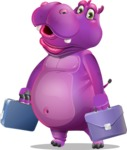 Purple Hippo Cartoon Character - with Two briefcases