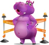 Purple Hippo Cartoon Character - with Under Construction sign