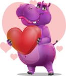 Purple Hippo Cartoon Character - With Valentine's Day Background