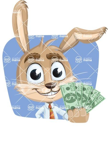 Cute Bunny Cartoon Vector Character AKA Bernie the Businessman - Shape 4
