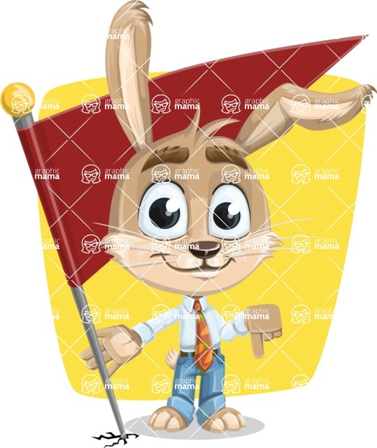 Cute Bunny Cartoon Vector Character AKA Bernie the Businessman - Shape 6
