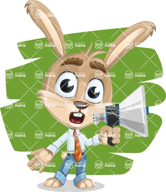 Cute Bunny Cartoon Vector Character AKA Bernie the Businessman - Shape 8