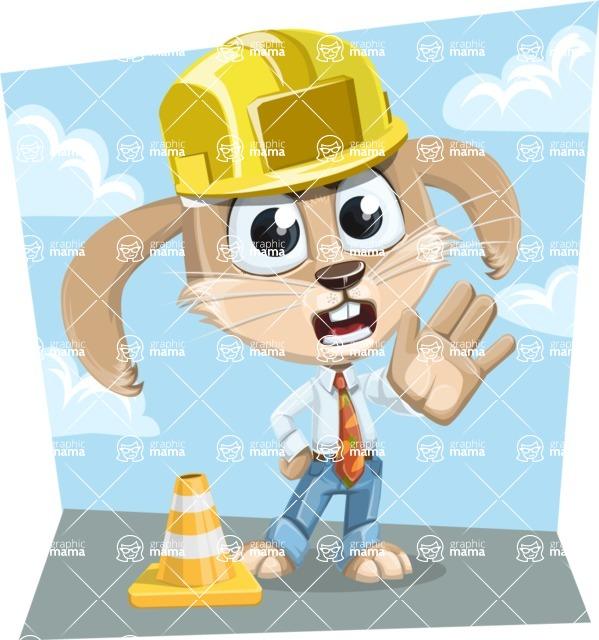 Cute Bunny Cartoon Vector Character AKA Bernie the Businessman - Shape 9