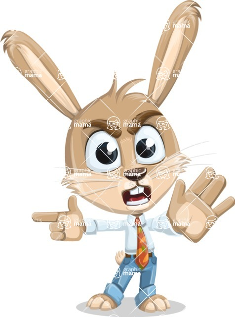 Cute Bunny Cartoon Vector Character AKA Bernie the Businessman - Direct Attention