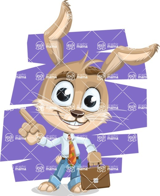 Cute Bunny Cartoon Vector Character AKA Bernie the Businessman - Shape 10