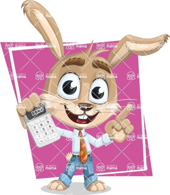 Cute Bunny Cartoon Vector Character AKA Bernie the Businessman - Shape 11