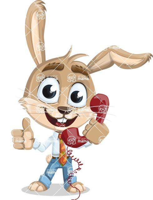 Cute Bunny Cartoon Vector Character AKA Bernie the Businessman - Support