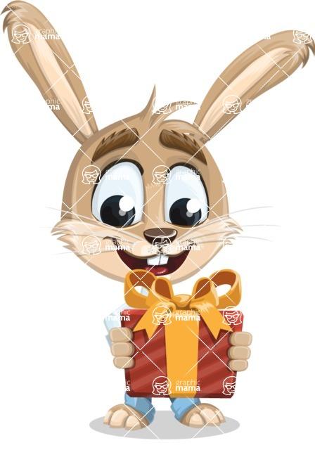 Cute Bunny Cartoon Vector Character AKA Bernie the Businessman - Gift