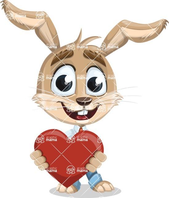 Cute Bunny Cartoon Vector Character AKA Bernie the Businessman - Love