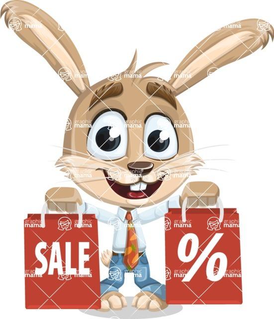 Cute Bunny Cartoon Vector Character AKA Bernie the Businessman - Sale 2