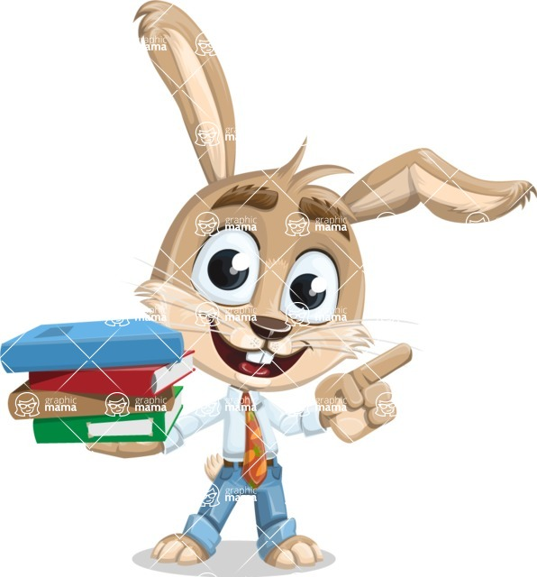 Cute Bunny Cartoon Vector Character AKA Bernie the Businessman - Book 2