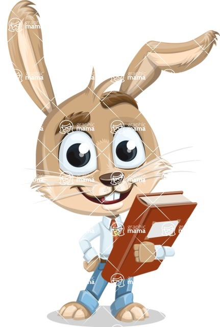 Cute Bunny Cartoon Vector Character AKA Bernie the Businessman - Book 3