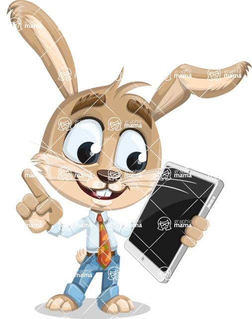 Cute Bunny Cartoon Vector Character AKA Bernie the Businessman - iPad 3