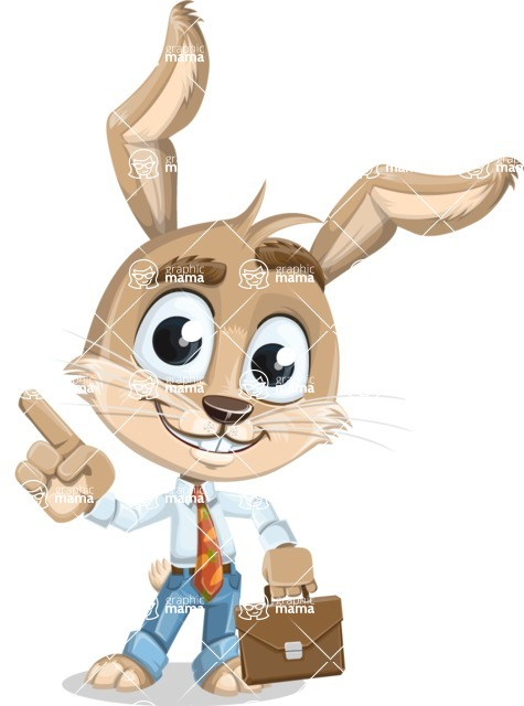 Cute Bunny Cartoon Vector Character AKA Bernie the Businessman - Briefcase 2