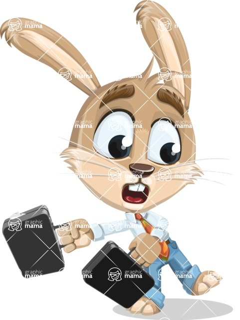 Cute Bunny Cartoon Vector Character AKA Bernie the Businessman - Briefcase 3