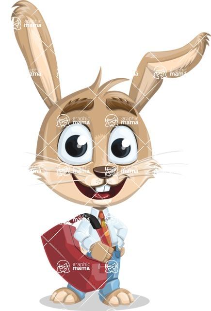 Cute Bunny Cartoon Vector Character AKA Bernie the Businessman - Travel 2