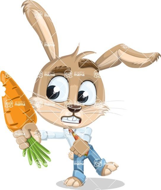 Cute Bunny Cartoon Vector Character AKA Bernie the Businessman - Carrot