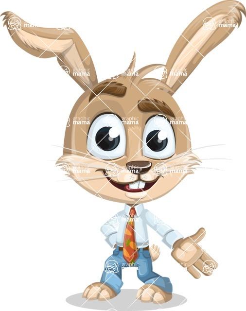 Cute Bunny Cartoon Vector Character AKA Bernie the Businessman - Show