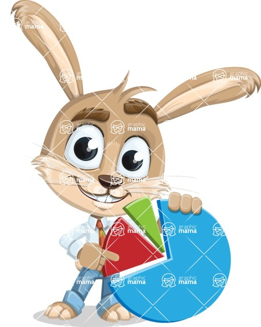 Cute Bunny Cartoon Vector Character AKA Bernie the Businessman - Chart