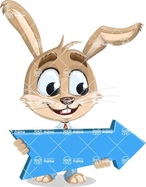 Cute Bunny Cartoon Vector Character AKA Bernie the Businessman - Pointer 2