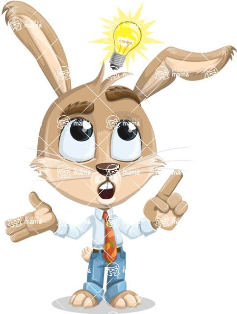 Cute Bunny Cartoon Vector Character AKA Bernie the Businessman - Idea 2