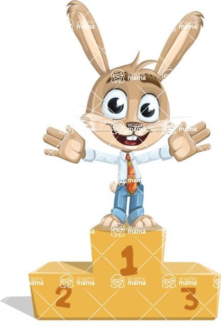 Cute Bunny Cartoon Vector Character AKA Bernie the Businessman - On Top