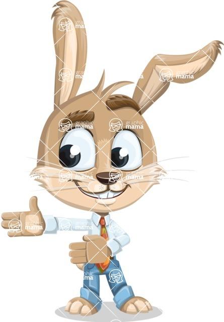Cute Bunny Cartoon Vector Character AKA Bernie the Businessman - Show 2