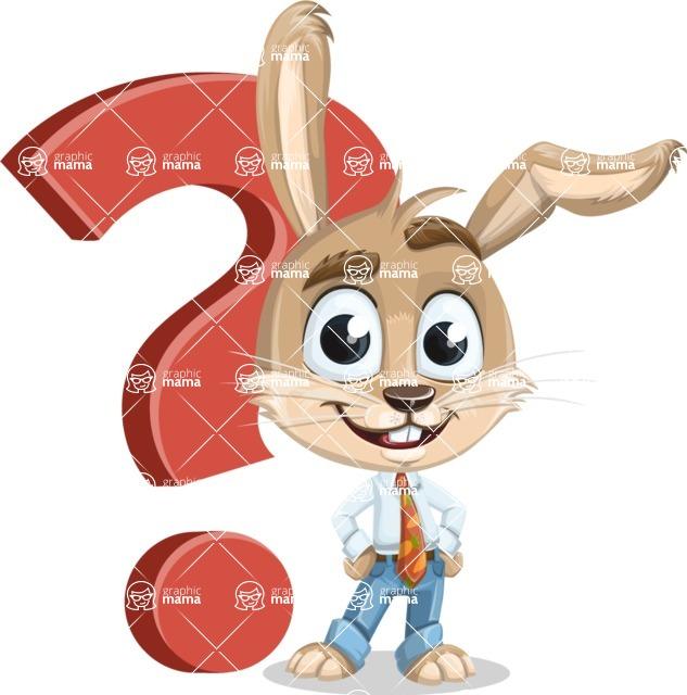 Cute Bunny Cartoon Vector Character AKA Bernie the Businessman - Question