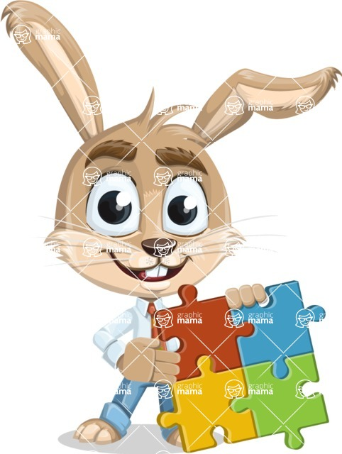 Cute Bunny Cartoon Vector Character AKA Bernie the Businessman - Puzzle