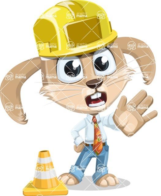 Cute Bunny Cartoon Vector Character AKA Bernie the Businessman - Under Construction 1