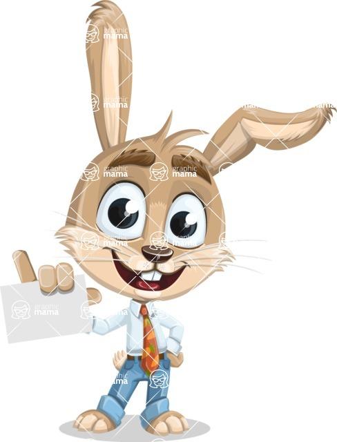 Cute Bunny Cartoon Vector Character AKA Bernie the Businessman - Sign 1