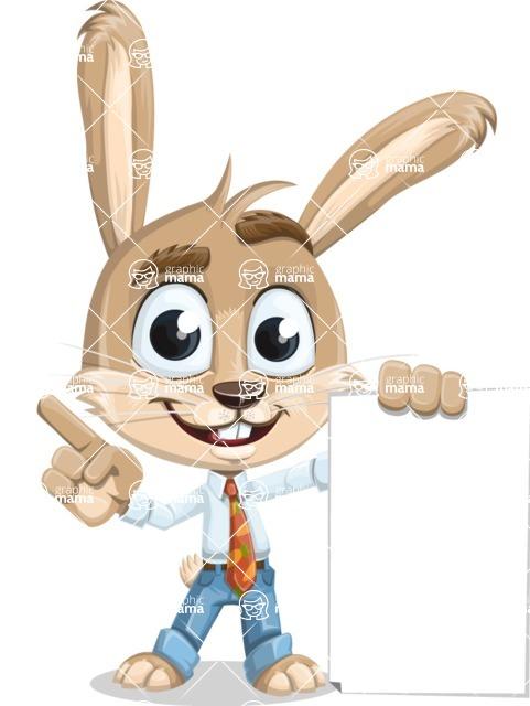 Cute Bunny Cartoon Vector Character AKA Bernie the Businessman - Sign 2