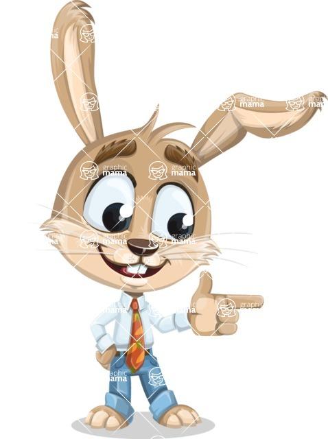 Cute Bunny Cartoon Vector Character AKA Bernie the Businessman - Point